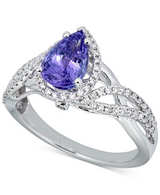 Tanzanite (1-1/2 ct. t.w.) & Diamond (1/3 ct. t.w.) Statement Ring in 14k White Gold