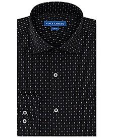Men's Slim-Fit Performance Stretch Black Tear Print Dress Shirt