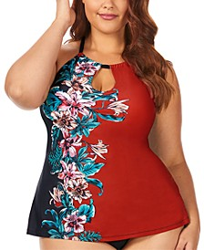Trendy Plus Size Juniors' Flourish Printed Rosalie High-Neck Underwire Tankini Top