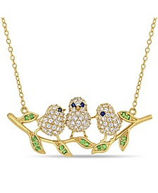 Created Blue and White Sapphire (1 1/4 ct. t.w.) Tsavorite (1/6 ct. t.w.) Leaf Chick Necklace in 18k Gold Over Sterling Silver