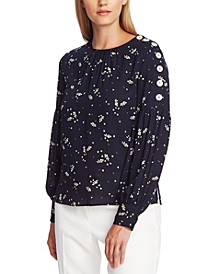 Whimsical Petals Button-Sleeve Blouse