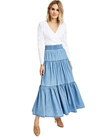 INC Puff-Sleeve Wrap Top & Tiered Maxi Skirt, Created for Macy's