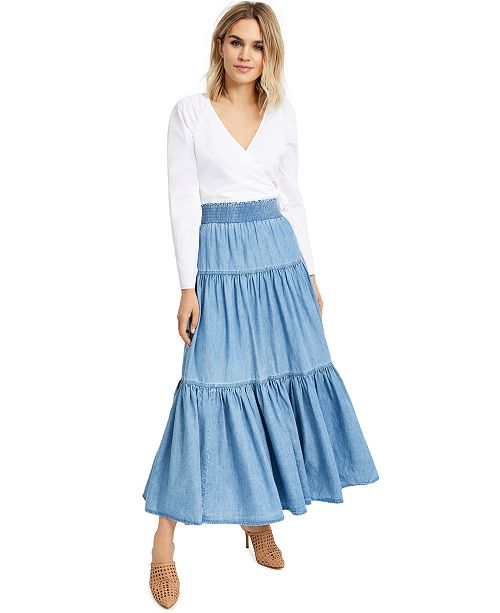 INC International Concepts INC Puff-Sleeve Wrap Top & Tiered Maxi Skirt, Created For Macy's