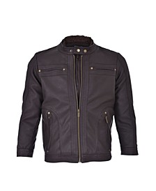 Moto Gear Men's Vegan Faux Leather Zip Front Moto with Removable Sherpa Lined Fleece Bib