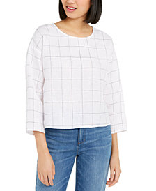 Eileen Fisher Organic Linen Windowpane-Print Woven Top