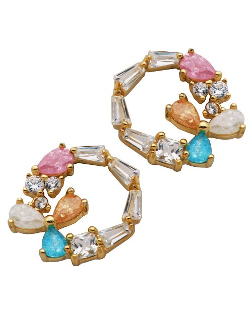 Macy's Multi Color Post Earrings in Fine Silver Plate