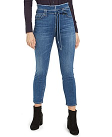 Paperbag-Waist Cropped Jeans