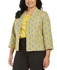 Plus Size Jacquard Plaid Jacket