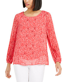 Alfani Petite Floral-Print Pleat-Sleeve Top, Created for Macy's