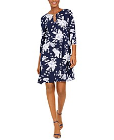 Petite Three-Ring Floral Stretch Jersey Dress
