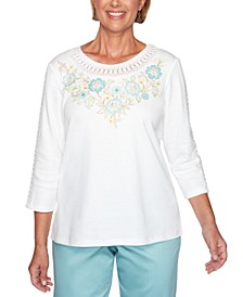 Cottage Charm Floral Embroidered Yoke Top