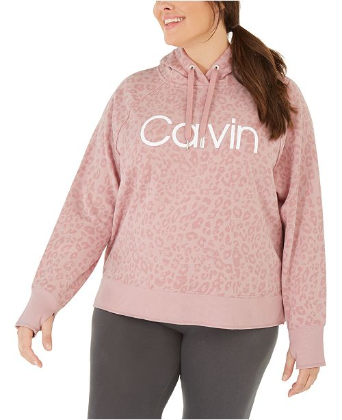 Calvin Klein Plus Size Animal-Print Hooded Sweatshirt