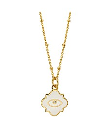 Evil Eye Enamel Pendant Gold Plated Necklace