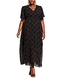 Trendy Plus Size Scratch Check Maxi Dress