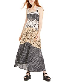 Juniors' Mixed-Print Maxi Dress