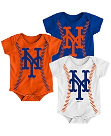 Baby New York Mets Running Home 3 Piece Bodysuit Set
