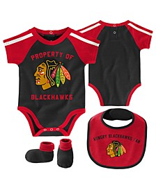 Baby Chicago Blackhawks Hard @ Play Bib & Bootie Set