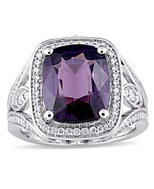 Purple Spinel (5 3/4 ct. t.w.) and Diamond (3/5 ct. t.w.) Halo Cocktail Ring in 14k White Gold