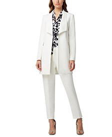 Wing-Lapel Topper Jacket, Floral Top & Dress Pants