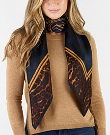 Sonia Leopard Plaid Silk Square Scarf