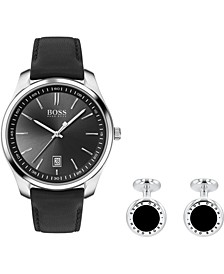 Men's Cufflink & Circuit Black Leather Strap Boxed Watch 42mm Gift Set