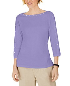 Studded 3/4-Sleeve Top, Created for Macy's