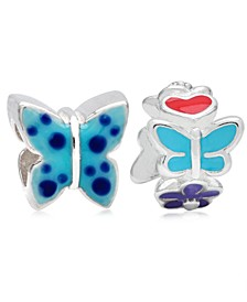 Children's  Enamel Butterfly Flowers Bead Charms - Set of 2 in Sterling Silver