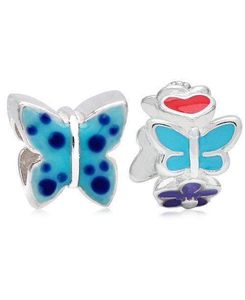 Rhona Sutton Children's  Enamel Butterfly Flowers Bead Charms - Set of 2 in Sterling Silver