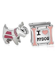Children's  Enamel Love My Dog Bead Charms - Set of 2 in Sterling Silver