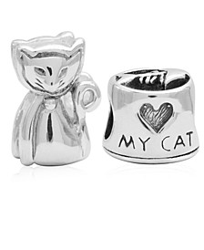 Children's  Love My Cat Bead Charms - Set of 2 in Sterling Silver