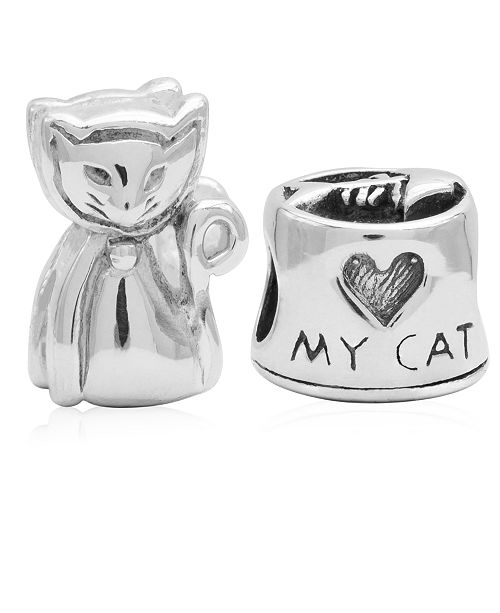 Rhona Sutton Children's  Love My Cat Bead Charms - Set of 2 in Sterling Silver
