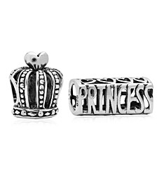 Children's  Crown Princess Bead Charms - Set of 2 in Sterling Silver