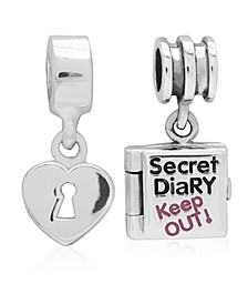 Children's  Secret Diary Heart Lock Drop Charms - Set of 2 in Sterling Silver