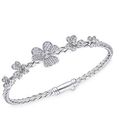 Crystal Flowers  Sterling Silver Bangle Bracelet