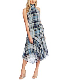 Plaid Mock-Neck Sleeveless Dress