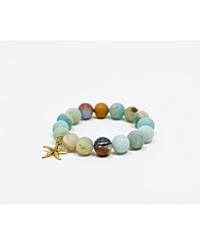 Amazonite Gemstone Rustic Gold Starfish Bracelet