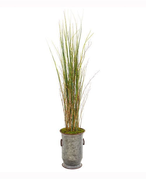 Nearly Natural 45in. Grass and Bamboo Artificial Plant in Vintage Metal Planter