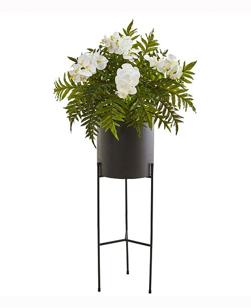 Nearly Natural 52in. Phalaenopsis Orchid and Hares Foot Fern Artificial Plant in Stand Black Planter