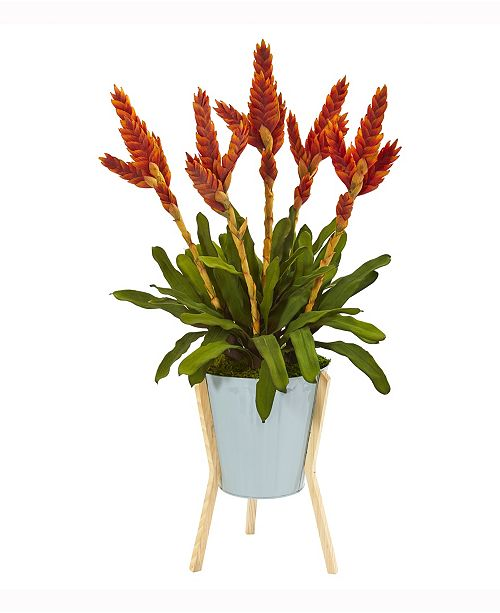 Nearly Natural 35in. Tropical Bromeliad Artificial Plant in Green Planter with Stand