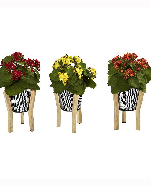 Nearly Natural 12in. Kalanchoe Artificial Plant in Tin Planter with Legs Set of 3