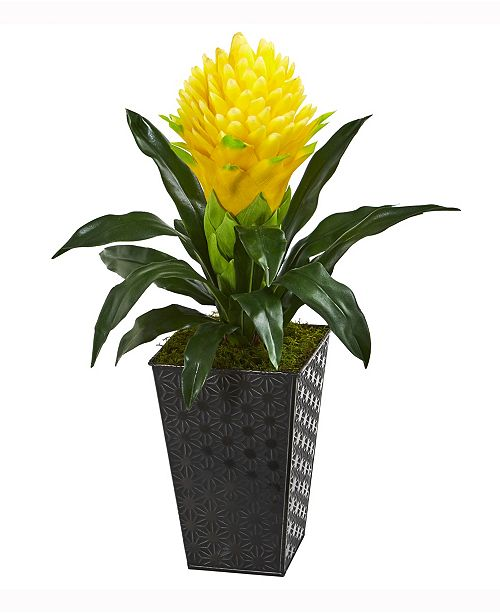Nearly Natural 18in. Ginger Artificial Plant in Black Embossed Tin Planter