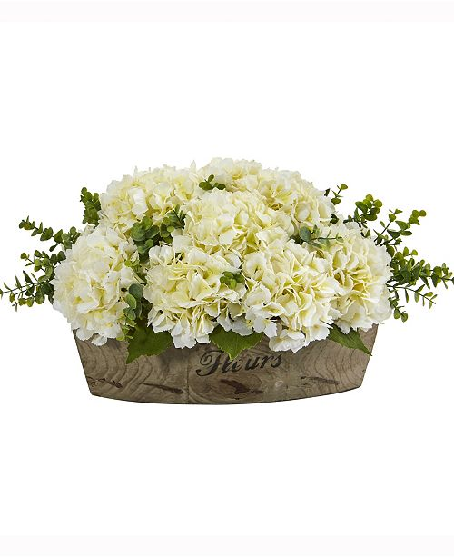 Nearly Natural 17in. Hydrangea and Eucalyptus Artificial Arrangement