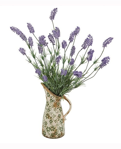 Nearly Natural 21in. Lavender Artificial Plant in Floral Pitcher
