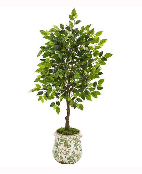 Nearly Natural 40in. Mini Ficus Artificial Tree in Floral Planter