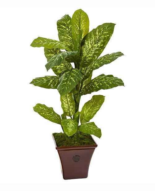 Nearly Natural 4ft. Dieffenbachia Artificial Plant in Brandy Planter Real Touch