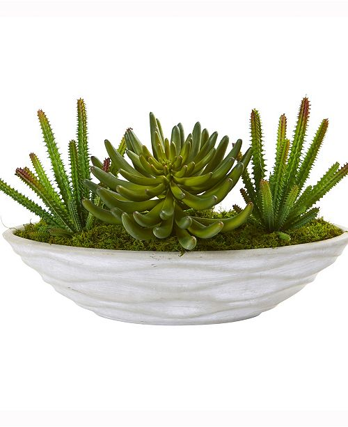 Nearly Natural 18in. Succulent Artificial Plant in Decorative Planter