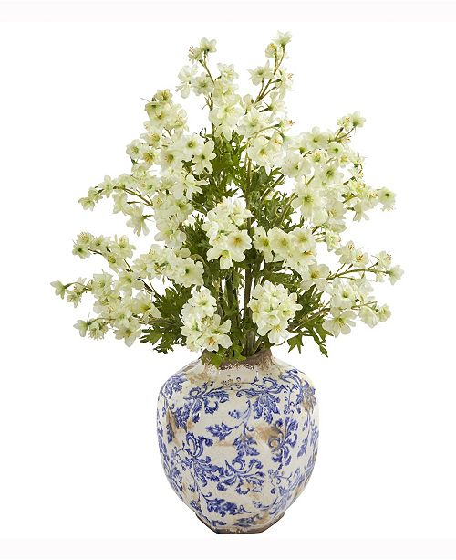 Nearly Natural 23in. Dancing Daisy Artificial Arrangement in Decorative Vase
