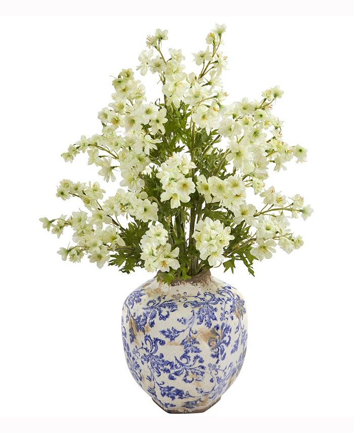 Nearly Natural - 23in. Dancing Daisy Artificial Arrangement in Decorative Vase