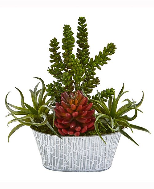 Nearly Natural 13in. Mixed Succulent Artificial Plant in Tin White Planter