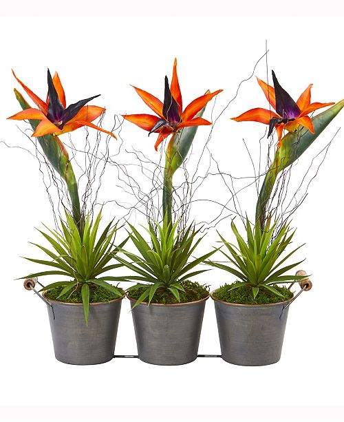 Nearly Natural 14in. Bird of Paradise and Succulent Artificial Arrangement in Trio Metal Planter